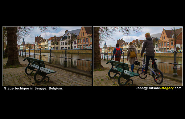 Belgium, Brugge. <br /> Stage Technique and strong diagonal lines, before and then capturing the action (family) as they walk by.