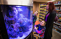 Amber Dehn (from right), son Luca Dehn, 9 and son Slade Dehn, 6, of Bentonville watch fish swim Thursday, Jan. 9, 2020, in the saltwater aquarium at the Bentonville Public Library.<br /> Check out nwaonline.com/200110Daily/ for today's photo gallery.<br /> (NWA Democrat-Gazette/Ben Goff)