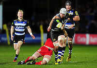 Dave Attwood of Bath Rugby takes on the Saracens defence. Aviva Premiership match, between Bath Rugby and Saracens on April 1, 2016 at the Recreation Ground in Bath, England. Photo by: Patrick Khachfe / Onside Images
