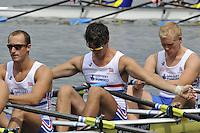 Amsterdam, NETHERLANDSS, GBR M4X. Bow. Oliver LEE, Stewart INNES, Jack HOCKLEY and John COLLINS.  2011 FISA U23 World Rowing Championships, {dow}, {date} [Mandatory credit:  Intersport Images].