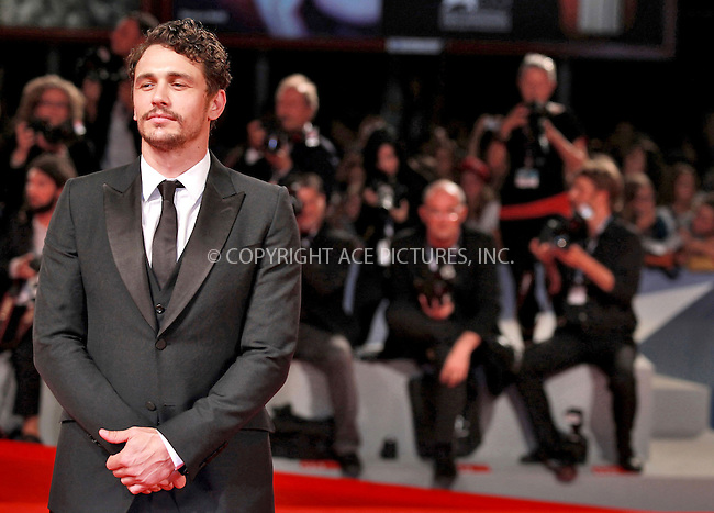 WWW.ACEPIXS.COM....US SALES ONLY....September 5, 2012, Venice, Italy.....James Franco arriving at the premiere of 'Spring Breakers' on September 5, 2012 in Venice, Italy at the Venice Film Festival.........By Line: Famous/ACE Pictures....ACE Pictures, Inc..Tel: 646 769 0430..Email: info@acepixs.com