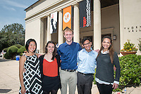 "Oxy student speakers, from left, Sarah Tamashiro '15, Cordelia Kenney '14, Brian Erickson '16, Adrian Adams '17 and Somer Greene '16. Occidental College hosts TEDxOccidental 2014 in which thought-provoking dialogues about ""Reinventing the American Dream in a Global Age"" took place at the all-day campus event, Saturday, March 29, 2014. (Photo by Marc Campos, Occidental College Photographer)"