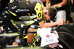Adam Yates (GBR) Mitchelton-Scott warms up before Stage 3 of the 2018 Tour de France a Team Time Trial running 35.5km from Cholet to Cholet (35,5km, France. 9th July 2018. <br /> Picture: ASO/Pauline Ballet | Cyclefile<br /> All photos usage must carry mandatory copyright credit (&copy; Cyclefile | ASO/Pauline Ballet)