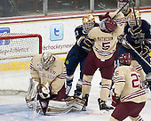 Thatcher Demko (BC - 30), Jeff Costello (ND - 11), Michael Matheson (BC - 5) - The visiting University of Notre Dame Fighting Irish defeated the Boston College Eagles 2-1 in overtime on Saturday, March 1, 2014, at Kelley Rink in Conte Forum in Chestnut Hill, Massachusetts.