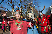 Düsseldorf, Germany. 15 February 2015. Men in Viking costumes. Street carnival celebrations take place on Königsallee (Kö) in Düsseldorf ahead of the traditional Shrove Monday parade (Rosenmontagszug).