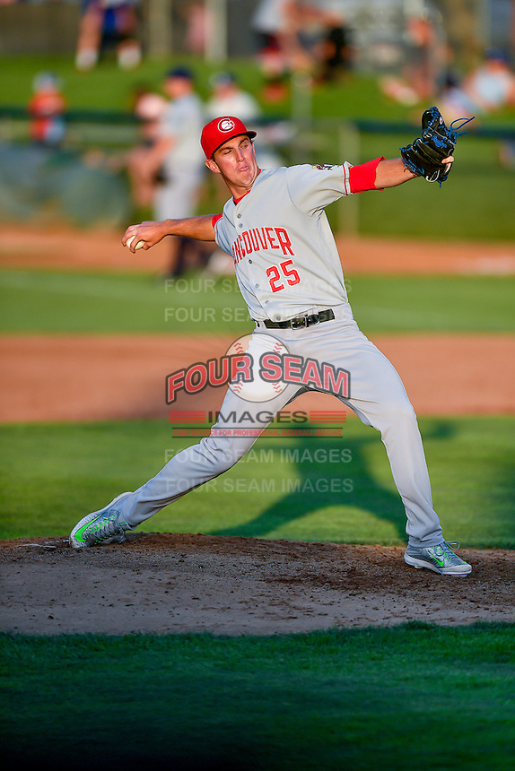 Northwest League All-Star Patrick Murphy (25) of the Vancouver Canadians delivers a pitch to the plate against the Pioneer League All-Stars at the 2nd Annual Northwest League-Pioneer League All-Star Game at Lindquist Field on August 2, 2016 in Ogden, Utah. The Northwest League defeated the Pioneer League 11-5. (Stephen Smith/Four Seam Images)