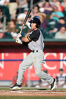 South Bend Silver Hawks shortstop Andrew Velazquez (16) at bat during a game against the Lansing Lugnuts on June 6, 2014 at Cooley Law School Stadium in Lansing, Michigan.  South Bend defeated Lansing 13-5.  (Mike Janes/Four Seam Images)