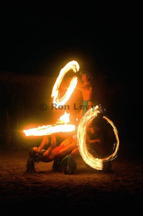 Fire dancers, Moorea, Tahiti
