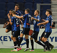 24th June 2020, Bergamo, Italy; Seria A football league, Atalanta versus Lazio;  Atalantas Jose Palomino celebrates his goal with teammates