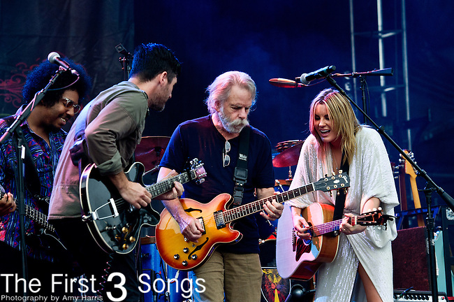 Grace Potter and Benny Yurco of Grace Potter and the Nocturnals performs with Bob Weir during the All Good Music Festival at Legend Valley in Thornville, Ohio.