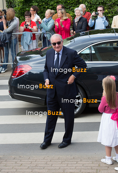 King Albert II of Belgium attends the first communion of twin princes Nicolas and Aymeric of Belgium, at the Sainte-Catherine church, in Bonlez, Belgium.<br /> 29 May 2014.