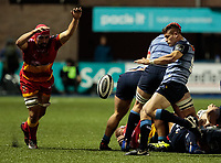 Cardiff Blues' Lloyd Williams looks to clear despite pressure from Dragons' Cory Hill<br /> <br /> Photographer Simon King/CameraSport<br /> <br /> Guinness Pro14 Round 6 - Cardiff Blues v Dragons - Friday 6th October 2017 - Cardiff Arms Park - Cardiff<br /> <br /> World Copyright &copy; 2017 CameraSport. All rights reserved. 43 Linden Ave. Countesthorpe. Leicester. England. LE8 5PG - Tel: +44 (0) 116 277 4147 - admin@camerasport.com - www.camerasport.co