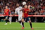 Spain's Thiago Alcantara and England's Raheem Sterling during UEFA Nations League 2019 match between Spain and England at Benito Villamarin stadium in Sevilla, Spain. October 15, 2018. (ALTERPHOTOS/A. Perez Meca)