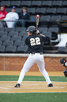 Will Craig (22) of the Wake Forest Demon Deacons at bat against the Appalachian State Mountaineers at Wake Forest Baseball Park on February 13, 2015 in Winston-Salem, North Carolina.  The Mountaineers defeated the Demon Deacons 10-1.  (Brian Westerholt/Four Seam Images)