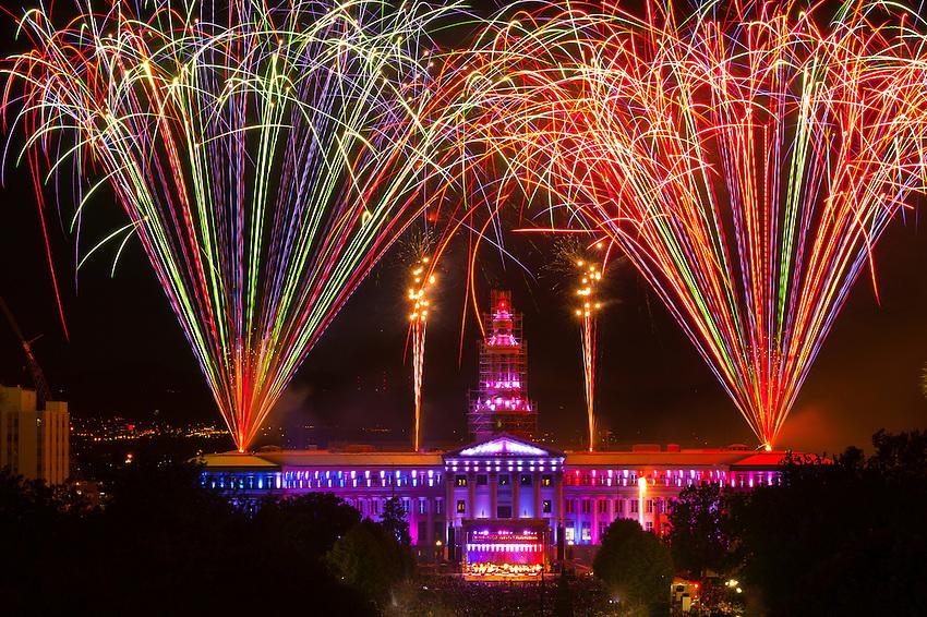 Fireworks show and the Colorado Symphony Orchestra, Independence Eve at Civic Center Park, Denver, Colorado USA