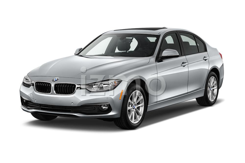 2017 BMW 3-Series 320i 4 Door Sedan Angular Front stock photos of front three quarter view