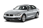 2017 BMW 3-Series 320i 4 Door Sedan Angular Front stock photos of front three quarter view