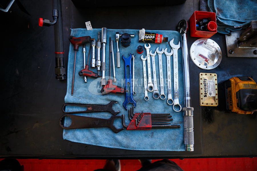 Jul 23, 2017; Morrison, CO, USA; Detailed view of tools in the pit area of NHRA top fuel driver Steve Torrence during the Mile High Nationals at Bandimere Speedway. Mandatory Credit: Mark J. Rebilas-USA TODAY Sports