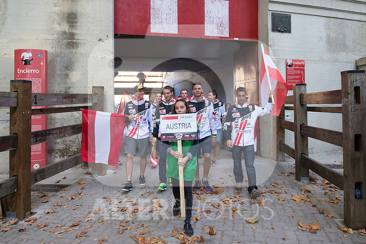 Austria enduro team during the presentation of the FIM international six days of enduro 2016 in Pamplona, Spain. October 09, 2016. (ALTERPHOTOS/Rodrigo Jimenez)