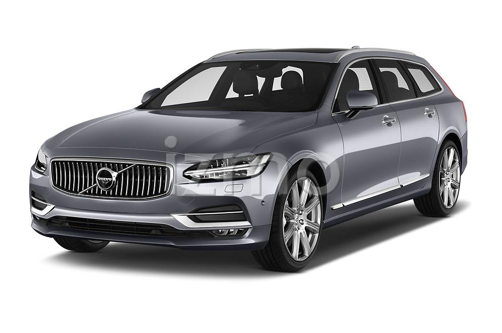 2017 Volvo V90 Inscription 5 Door Wagon Angular Front stock photos of front three quarter view