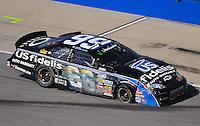 Apr 25, 2009; Talladega, AL, USA; NASCAR Nationwide Series driver Steve Wallace after crashing during the Aarons 312 at the Talladega Superspeedway. Mandatory Credit: Mark J. Rebilas-