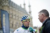 Michael Matthews (AUS/Orica-GreenEDGE) being interviewed by Karl Berteele of Sporza before the start<br /> <br /> 56th De Brabantse Pijl - La Fl&egrave;che Braban&ccedil;onne (1.HC)