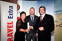 NO REPRO FEE: 27.1.12: Travel Extra Travel Journalist of the Year Awards Announced In Dublin. Pictured was Christine Donnelly from Falcon Holidays and Eoghan Corry, Editor of Travel Extra presenting 'Sun Holidays' category winner to Tomas Breathnach, Freelance (centred). Picture Collins Photos.