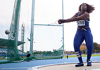 BARRANQUILLA - COLOMBIA, 30-07-2018: Briane Tynelle Gumbs, de Islas Virgenes, durante su participación en la prueba de Lanzamiento del Martillo, femenino, en el Estadio de Atletismo, como parte de los Juegos Centroamericanos y del Caribe Barranquilla 2018. / Briane Tynelle Gumbse, from the Virgin Islands, during her participation in the Women's Hammer Throw test, at the Athletics Stadium,as a part of the Central American and Caribbean Sports Games Barranquilla 2018. Photo: VizzorImage / Cont.