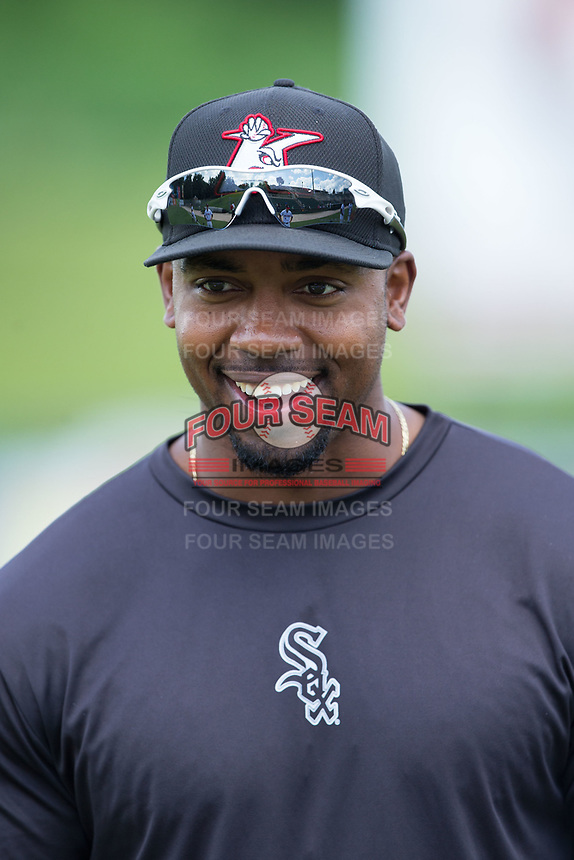 Kannapolis Intimidators strength and conditioning coach Goldy Simmons prior to the game against the Hagerstown Suns at Kannapolis Intimidators Stadium on July 9, 2017 in Kannapolis, North Carolina.  The Intimidators defeated the Suns 3-2 in game one of a double-header.  (Brian Westerholt/Four Seam Images)