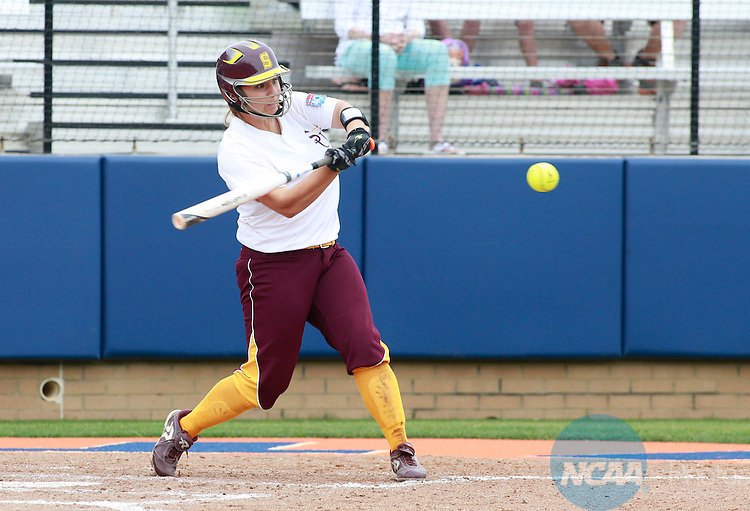 26 MAY 2014:  Designated player Paige Knussman (15) of Salisbury hits a home run in the fourth inning of the game against Tufts University during game 1 of the Division III Women's Softball Championship held at the UT Tyler Ballpark in Tyler, TX.  Salisbury defeated Tufts 2-1.   Tim Heitman/NCAA Photos