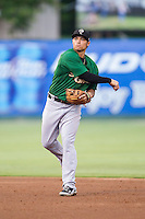 Savannah Sand Gnats second baseman L.J. Mazzilli (13) makes a throw to first base against the Kannapolis Intimidators at CMC-Northeast Stadium on June 9, 2014 in Kannapolis, North Carolina.  The Intimidators defeated the Sand Gnats 4-2.  (Brian Westerholt/Four Seam Images)
