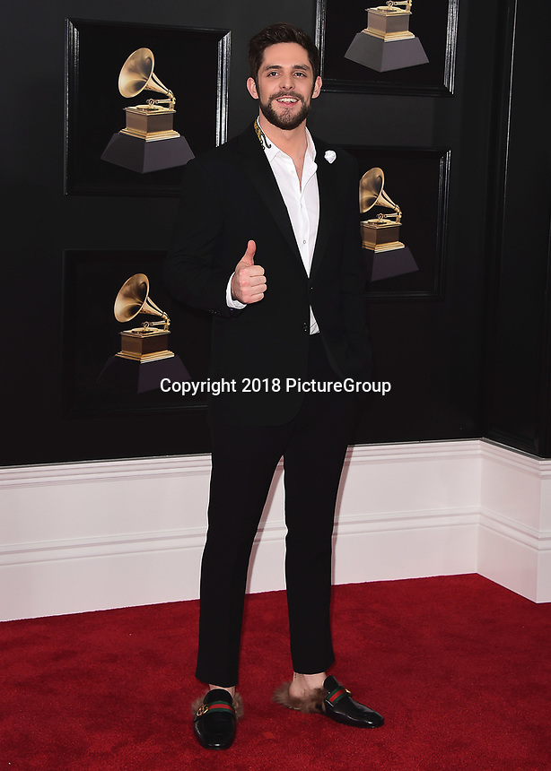 NEW YORK - JANUARY 28:  Thomas Rhett at the 60th Annual Grammy Awards at Madison Square Garden on January 28, 2018 in New York City. (Photo by Scott Kirkland/PictureGroup)