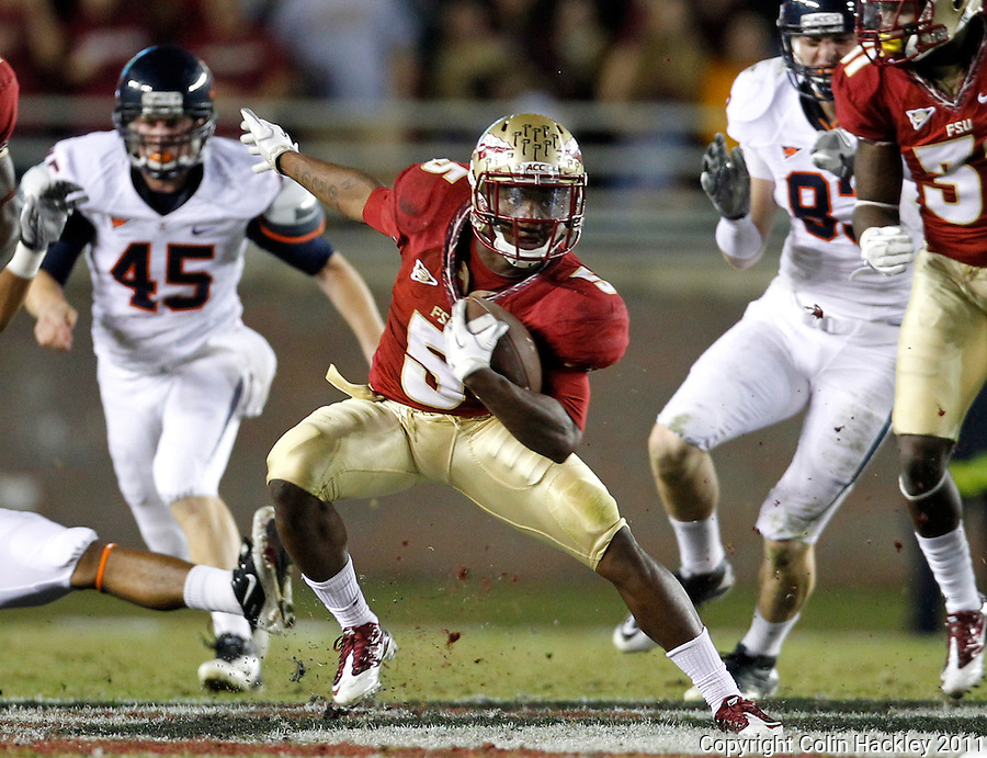 TALLAHASSEE, FL 11/19/11-FSU-UVA111911 CH-Florida State's Greg Reid makes a move against Virginia during second half action Saturday at Doak Campbell Stadium in Tallahassee. The Seminoles lost to the Cavaliers 14-13..COLIN HACKLEY PHOTO