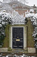 Snow covered doorway in Hampstead, North London, United Kingdom