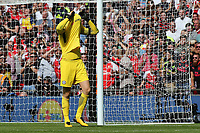Chelsea goalkeeper, Thibaut Courtois reacts after missing his penalty in the shoot-out during Arsenal vs Chelsea, FA Community Shield Football at Wembley Stadium on 6th August 2017