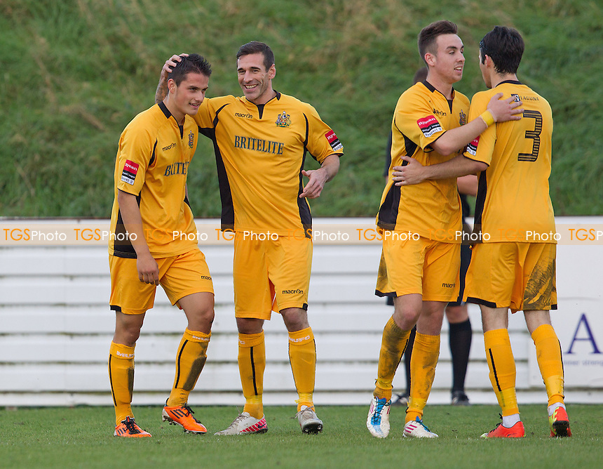 Maidstone players congratulate Fabio Saraiva following the third goal for the visitors - Maldon & Tiptree vs Maidstone United - FA Challenge Trophy 1st Qualifying Round at the Wallace Binder Stadium, Maldon, Essex - 19/10/13 - MANDATORY CREDIT: Ray Lawrence/TGSPHOTO - Self billing applies where appropriate - 0845 094 6026 - contact@tgsphoto.co.uk - NO UNPAID USE