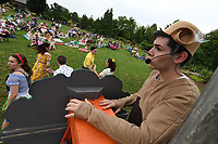 NWA Democrat-Gazette/J.T. WAMPLER Jeremy Lopez plays a monkey as Opera in the Ozarks presents Monkey See, Monkey Do at the Botanical Garden of the Ozarks in Fayetteville Tuesday June 5, 2019. The opera which is based on a Mexican folk tale is a one-act bilingual opera by composer Robert Xavier Rodriguez. It tells the story of a sombrero seller whose hats are stolen by a band of monkeys Ð and who cleverly manages to get them back, while, incidentally, winning the hand of a lady. Opera in the Ozarks will present Monkey See, Monkey Do at more than a dozen free or low cost performances held at area libraries and other community locations and open to the public. The next performance is today ((JUNE 5)) at the Rogers Public Library and Thursday at the Berryville Public Library. <br />