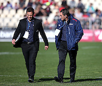 Tasman Coaches Leon MacDonald (L) and Mark Hammett (R) prior to the Mitre 10 Cup rugby match between Canterbury  and Tasman Makos at AMI Stadium, Christchurch, New Zealand on Sunday, 28 August 2016. Photo: Martin Hunter / lintottphoto.co.nz