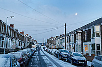Pictured: The lunar phonomenon known as Black Moon is seen over snow covered houses in Rhondda Street in the Mount Pleasant area of Swansea, caused by the &quot;Beast from the East&quot;, south Wales, UK. Wednesday 28 February 2018<br /> Re: Strong cold winds from the east have been affecting most parts of the UK with temperatures in some parts below zero.