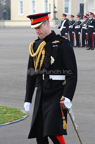 Prince William, Duke of Cambridge represents Her Majesty The Queen as the Reviewing Officer during The Sovereign's Parade at the Royal Military Academy Sandhurst in Camberley, Surrey.<br />