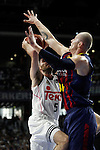 Real Madrid´s Rudi Fernandez and Barcelona´s Lampe during Liga Endesa Final first match at Palacio de los Deportes in Madrid, Spain. June 19, 2015. (ALTERPHOTOS/Victor Blanco)