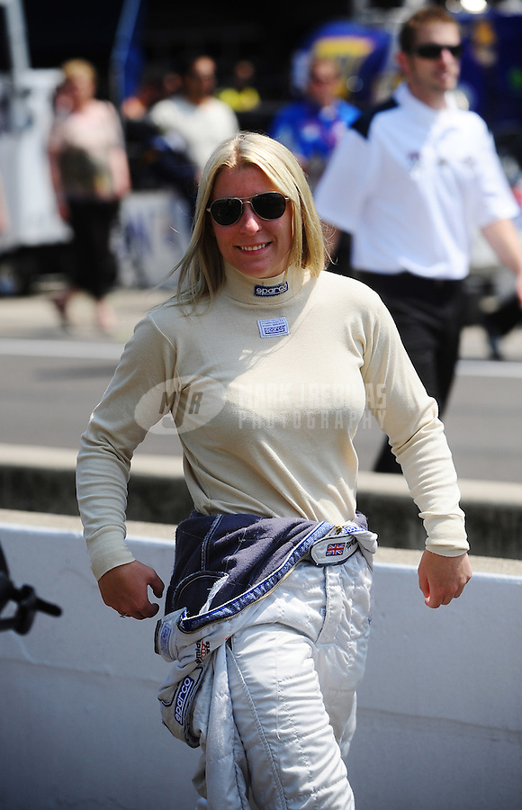 May 28, 2010; Indianapolis, IN, USA; Indy Light Series driver Pippa Mann during the Freedom 100 at the Indianapolis Motor Speedway. Mandatory Credit: Mark J. Rebilas-