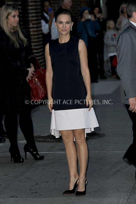 WWW.ACEPIXS.COM <br /> November 6, 2013 New York City<br /> <br /> Natalie Portman arrives to tape an appearance on the Late Show with David Letterman on November 6, 2013  in New York City.<br /> <br /> Please byline: Kristin Callahan  <br /> <br /> ACEPIXS.COM<br /> Ace Pictures, Inc<br /> tel: (212) 243 8787 or (646) 769 0430<br /> e-mail: info@acepixs.com<br /> web: http://www.acepixs.com