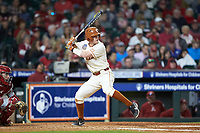 Brenden Dixon (1) of the Texas Longhorns at bat against the Arkansas Razorbacks in game six of the 2020 Shriners Hospitals for Children College Classic at Minute Maid Park on February 28, 2020 in Houston, Texas. The Longhorns defeated the Razorbacks 8-7. (Brian Westerholt/Four Seam Images)