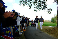 Webb Simpson (Team USA) and Bubba Watson (Team USA) during the friday foursomes at the Ryder Cup, Le Golf National, Ile-de-France, France. 28/09/2018.<br /> Picture Fran Caffrey / Golffile.ie<br /> <br /> All photo usage must carry mandatory copyright credit (© Golffile | Fran Caffrey)