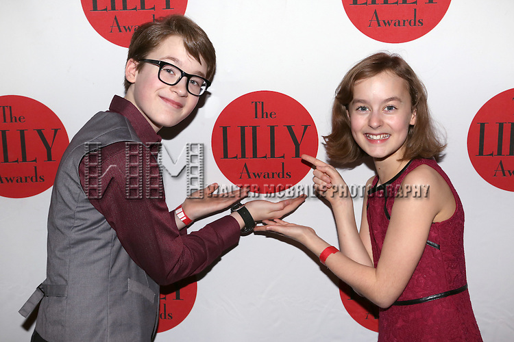 Jake Lucas and Sydney Lucas backstage at The Lilly Awards Broadway Cabaret'   at The Cutting Room on November 9, 2015 in New York City.