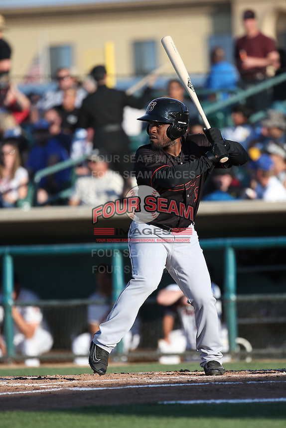 Arby Fields (9) of the Bakersfield Blaze bats against the Lancaster JetHawks at The Hanger on June 18, 2016 in Lancaster, California. Bakersfield defeated Lancaster, 10-7. (Larry Goren/Four Seam Images)