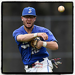 Second baseman Joey Tepper (22) of the Spartanburg Methodist College Pioneers throws out a runner in Game 2 of a junior college doubleheader against the Southeastern Community Rams on Tuesday, March 26, 2019, at Mooneyham Field in Spartanburg, South Carolina. SMC won, 4-3. (Tom Priddy/Four Seam Images)