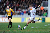 Rory Clegg of Newcastle Falcons prepares to take a penalty kick against his old club during the Aviva Premiership match between Harlequins and Newcastle Falcons at the Twickenham Stoop on Saturday 15th February 2014 (Photo by Rob Munro)