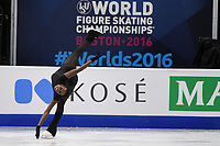 Tuesday, March 29, 2016: Mae Berenice Meite of France skates during a practice session at the International Skating Union World Championship held at TD Garden, in Boston, Massachusetts. Eric Canha/CSM